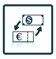 Currency dollar and euro exchange icon vector image