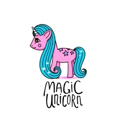 Cute cartoon beautiful magic pony princess vector