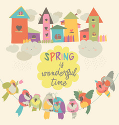 cute colorful birds and birdhouses in spring vector image