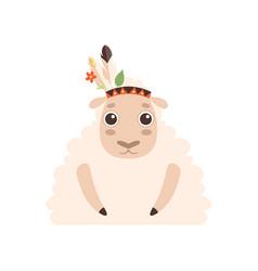 Cute lamb animal wearing indian traditional tribal vector