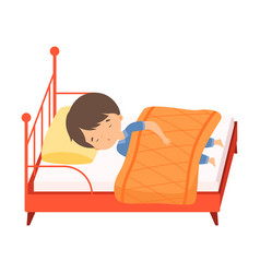 Cute little boy sleeping sweetly in his bed under vector