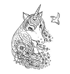 doodle a cute unicorn head looking at bird vector image
