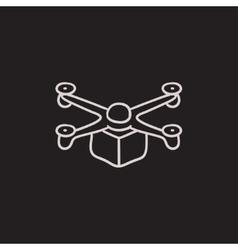 Drone delivering package sketch icon vector image