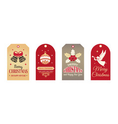 festive tags winter christmas labels art badges vector image