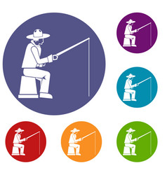 Fisherman with a fishing rod icons set vector