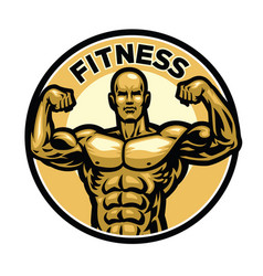 fitness badge with muscular bodybuilder vector image