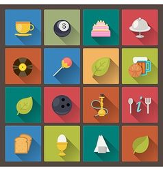 food and entertainment icons in flat design style vector image