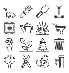 gardening icons set on white background line vector image
