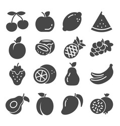 gray fruit icon set collection vector image