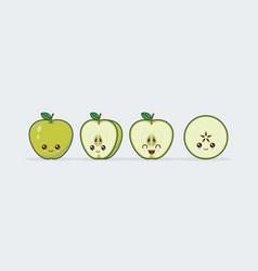 green apple set drawn cute kawaii food faces vector image