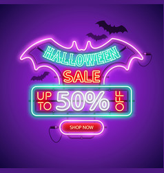 halloween sale neon sign vector image