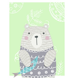 hand drawn funny cute bear vector image