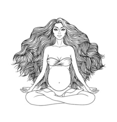 Hand drawn of pregnant woman sitting in lotus pose vector