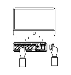 Hands using computer in black and white vector