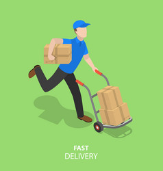 Happy courier flat isometric concept vector