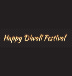 happy diwali festival text banner vector image