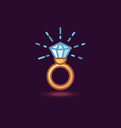 Icon in style linework jeweler gold ring vector
