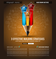 infograph brochure template with hand drawn vector image