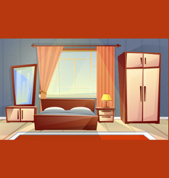 Interior of bedroom living room furniture vector