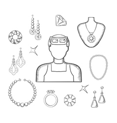 Jeweler or goldsmith with jewelries sketch style vector