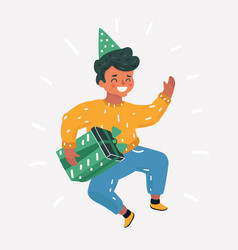 jumping young man party hat vector image