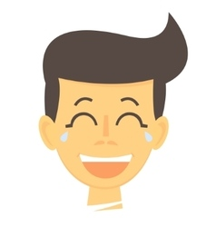 Laughing cartoon boy Happy boy face icon vector image