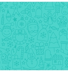Line New Year Tile Blue Pattern vector image