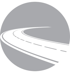 Logo with perspective of curved road vector