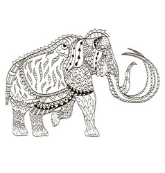 Mammoth coloring book vector