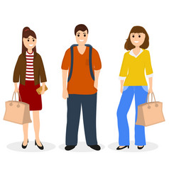 man and two women with bags and backpack vector image