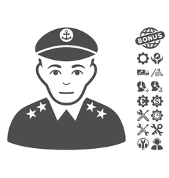 Military Captain Icon With Tools Bonus vector
