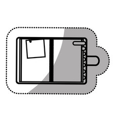 monochrome sticker with notepad and page tab vector image