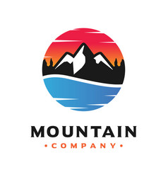 mountain and sea landscape logo design vector image