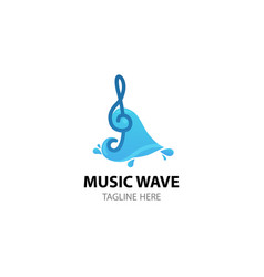 music key on wave - creative logo template vector image