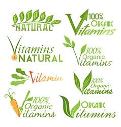 Natural vitamins emblems vector