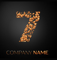 number seven logo gold dots alphabet logotype vector image