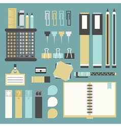 Office and school supplies icon set vector