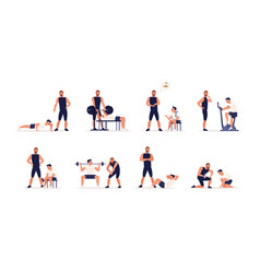 personal couch or fitness trainer helps man during vector image