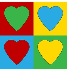 Pop art heart icons vector