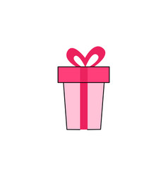 present box with blue ribbon flat icon vector image