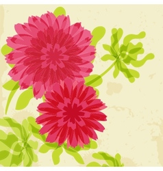 Red and orange chrysanthemums on grunge background vector