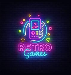 Retro games logo geek gaming gamepad vector