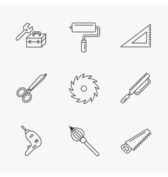 Scissors paint roller and repair tools icons vector image
