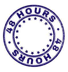 Scratched textured 48 hours round stamp seal vector