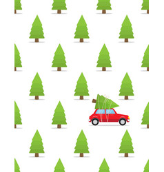 seamless pattern with car and christmas tree on vector image