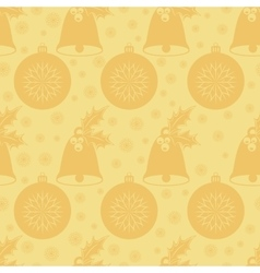 Seamless pattern with Christmas bell with holly vector image