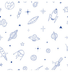 seamless space pattern in doodle style vector image