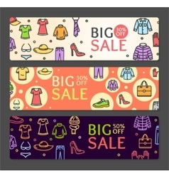 Seasonal Clothing Sale Banner Card Set vector image