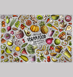 Set vegan food theme items objects and vector
