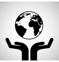 silhouette hands environmentally friendly globe vector image